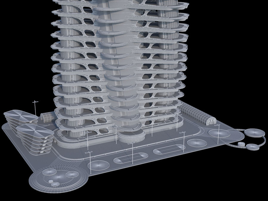 Sci-Fi Buildings royalty-free 3d model - Preview no. 15