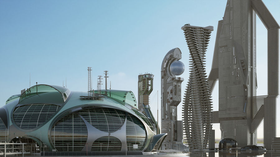 Sci-Fi Buildings royalty-free 3d model - Preview no. 4