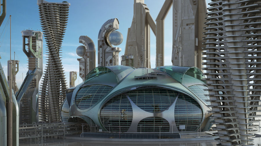 Sci-Fi Buildings royalty-free 3d model - Preview no. 1