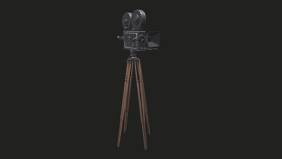 Classic Movie Camera royalty-free 3d model - Preview no. 9