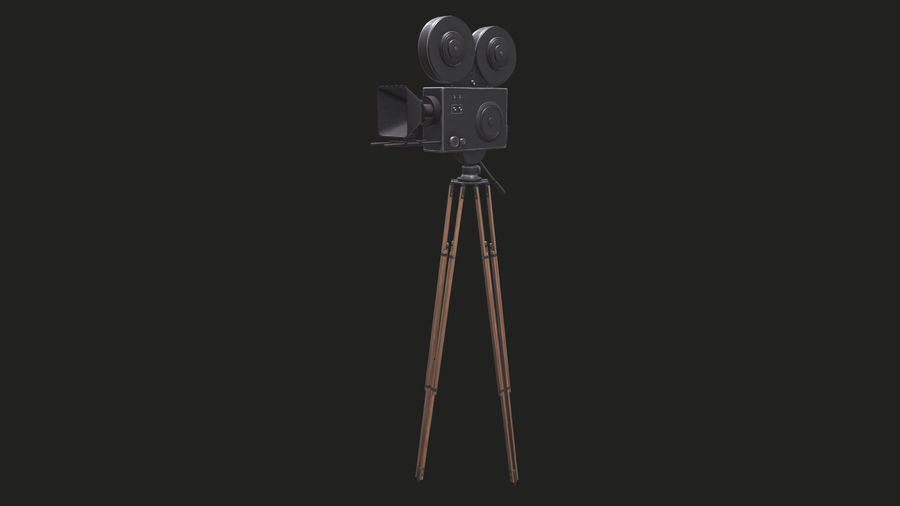 Classic Movie Camera royalty-free 3d model - Preview no. 11