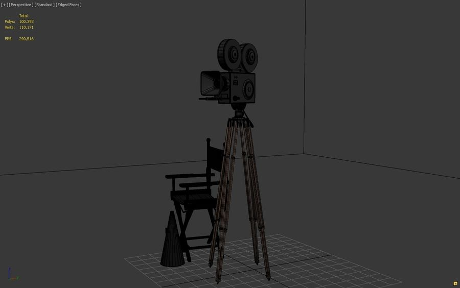 Classic Movie Camera royalty-free 3d model - Preview no. 8