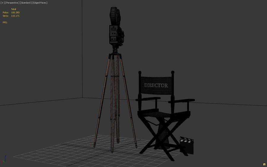 Classic Movie Camera royalty-free 3d model - Preview no. 7