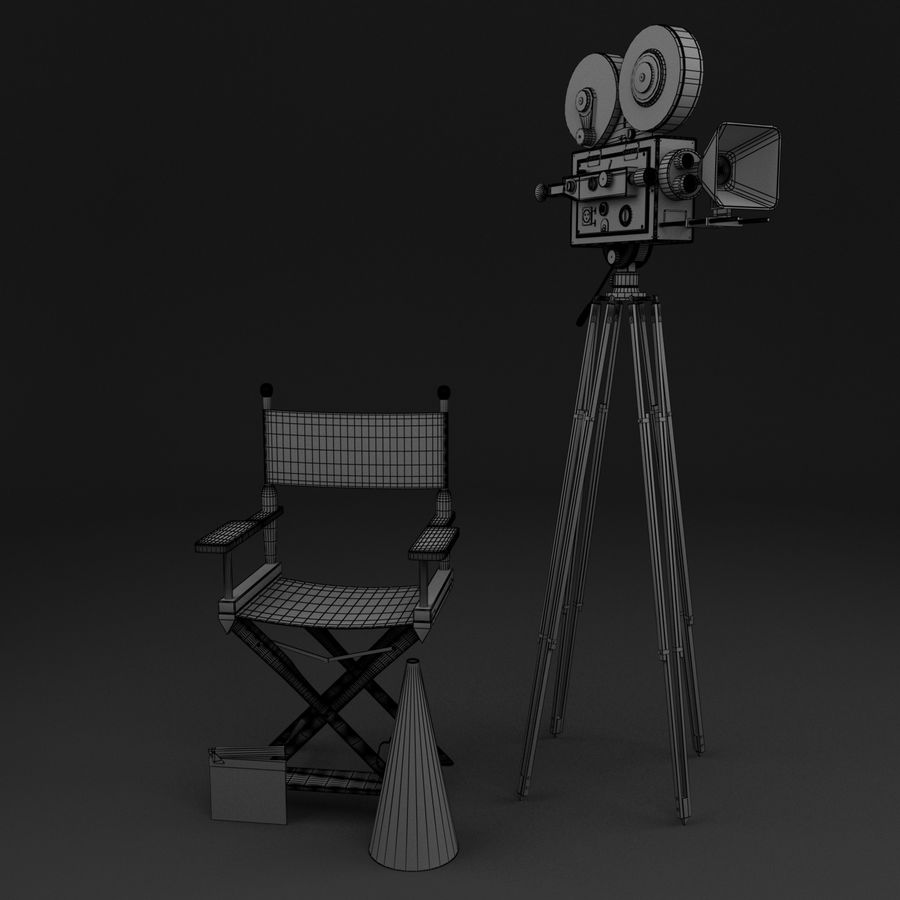 Classic Movie Camera royalty-free 3d model - Preview no. 5