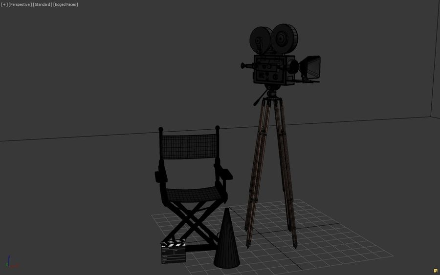 Classic Movie Camera royalty-free 3d model - Preview no. 6