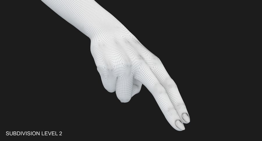 Female Arm A (Pose F Textured) Two Fingers royalty-free 3d model - Preview no. 32
