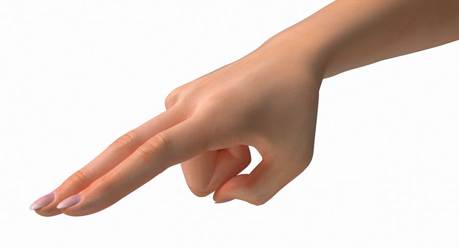 Female Arm A (Pose F Textured) Two Fingers royalty-free 3d model - Preview no. 26