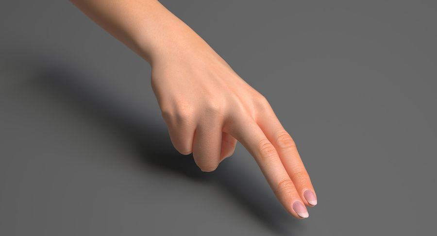 Female Arm A (Pose F Textured) Two Fingers royalty-free 3d model - Preview no. 3