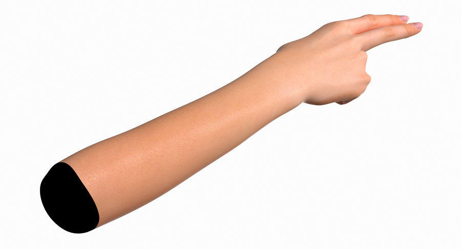 Female Arm A (Pose F Textured) Two Fingers royalty-free 3d model - Preview no. 14