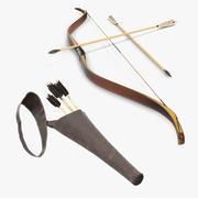Colección de modelos 3D de arco antiguo y carcaj Letaher modelo 3d
