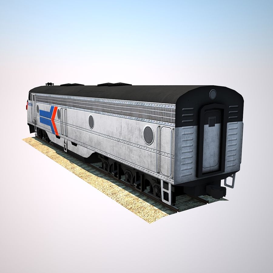 Diesel Train Engine royalty-free 3d model - Preview no. 3