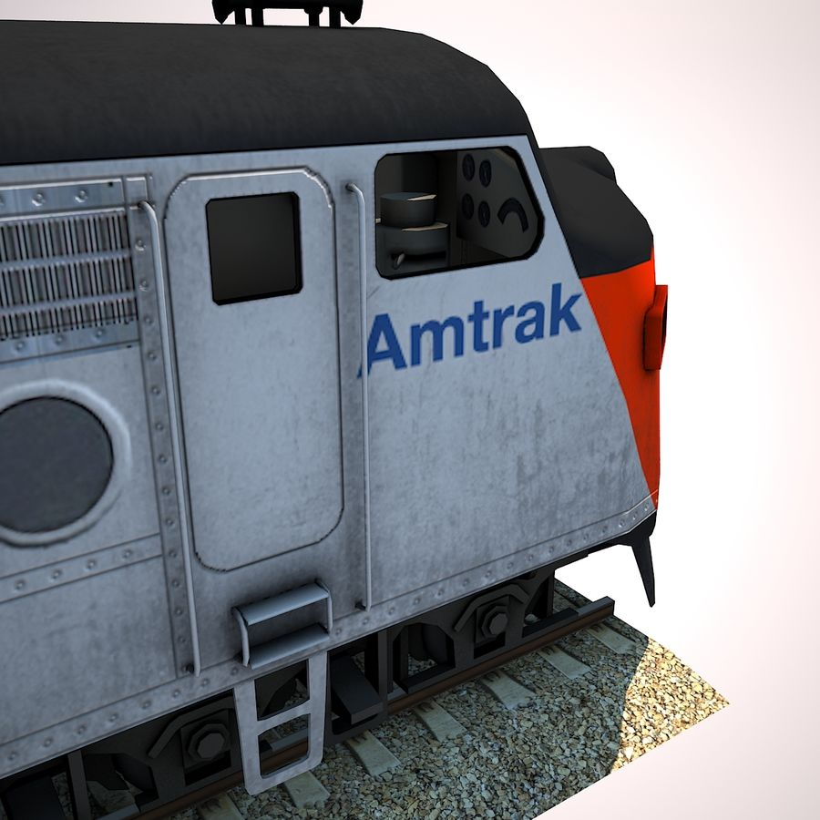 Diesel Train Engine royalty-free 3d model - Preview no. 7