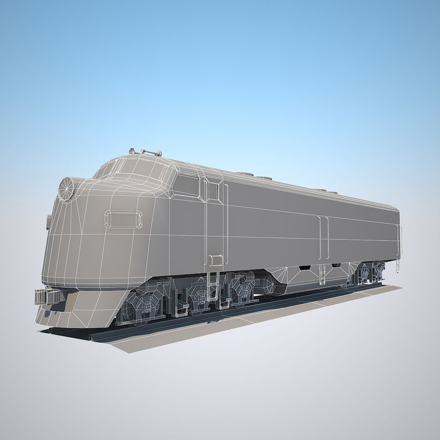 Diesel Train Engine royalty-free 3d model - Preview no. 8