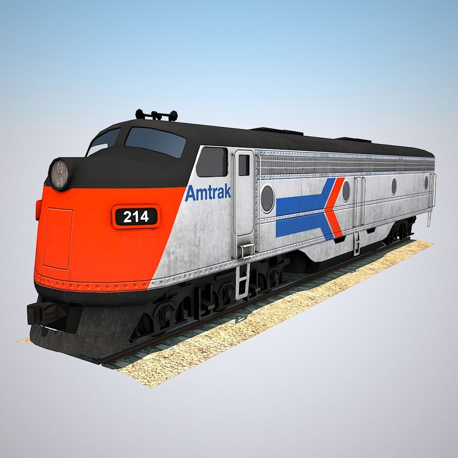 Diesel Train Engine royalty-free 3d model - Preview no. 1