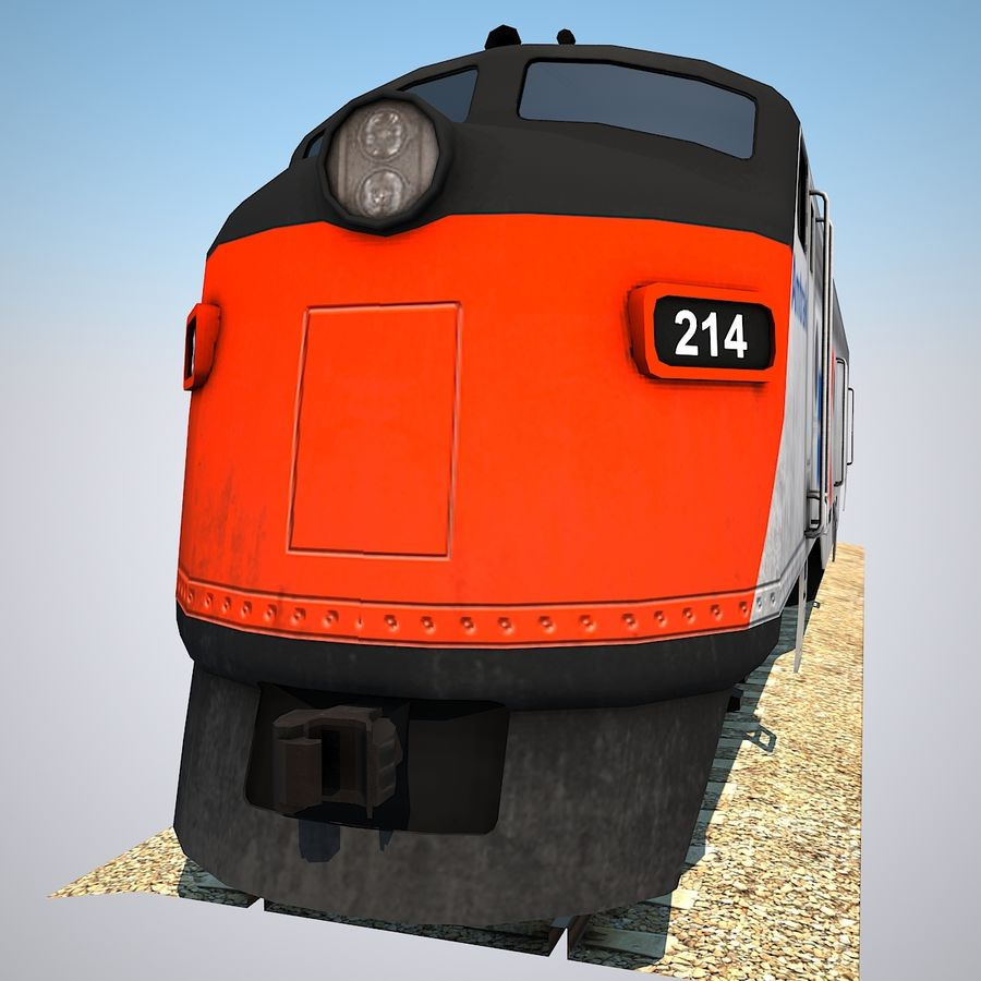 Diesel Train Engine royalty-free 3d model - Preview no. 5