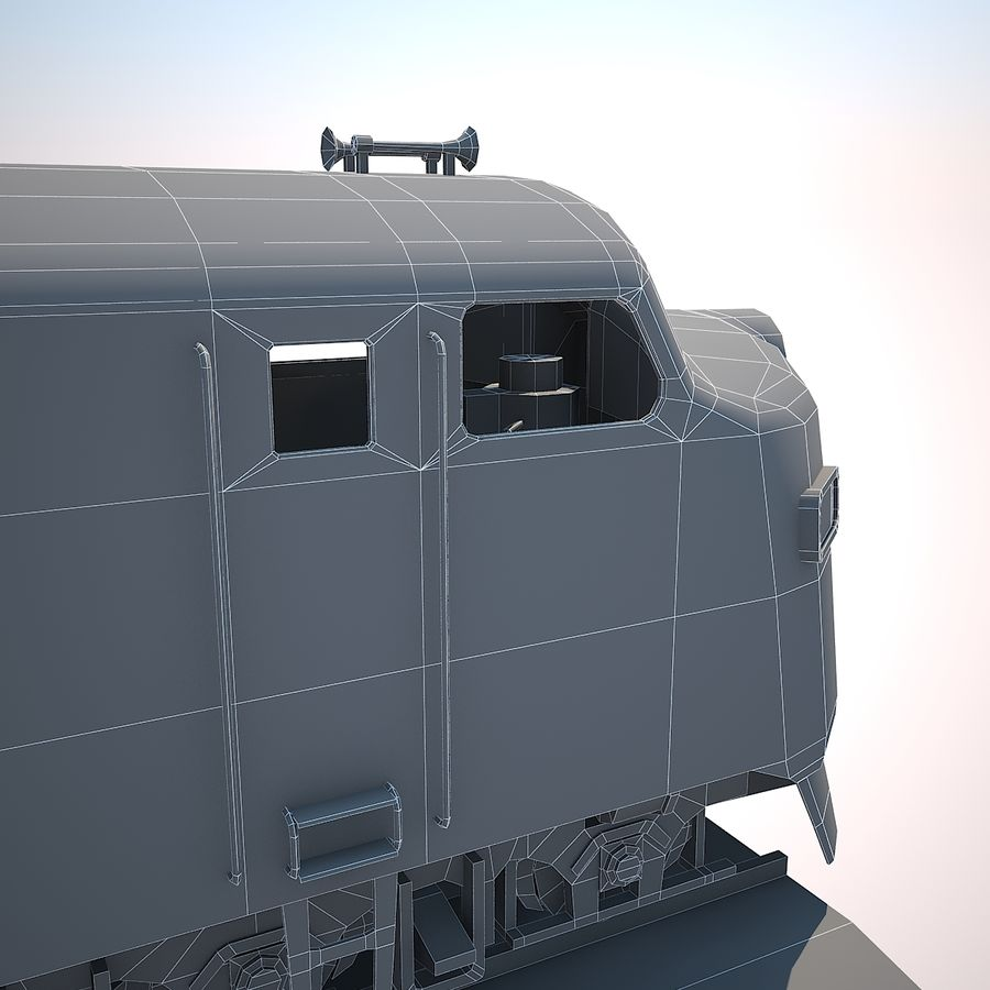 Diesel Train Engine royalty-free 3d model - Preview no. 10