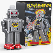 빈티지 로봇 흡연 우주인 3d model