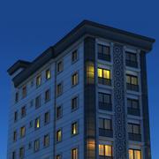 Edifício moderno à noite 3d model