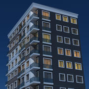 Nacht modern gebouw 3 3d model