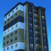 Nacht modern gebouw 4 3d model