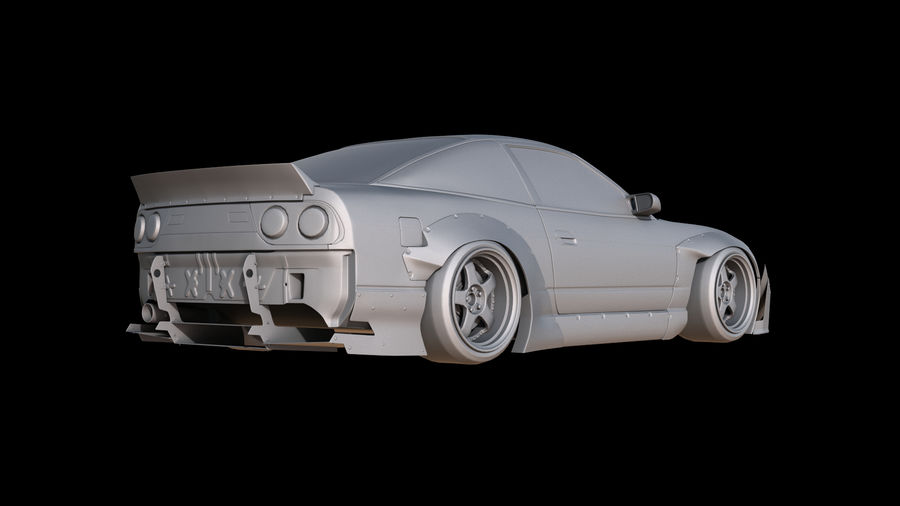 Nissan 180sx Rocketbunny royalty-free 3d model - Preview no. 4