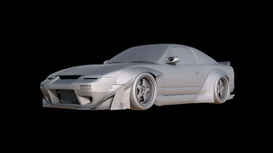 Nissan 180sx Rocketbunny royalty-free 3d model - Preview no. 3