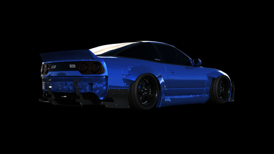 Nissan 180sx Rocketbunny royalty-free 3d model - Preview no. 2