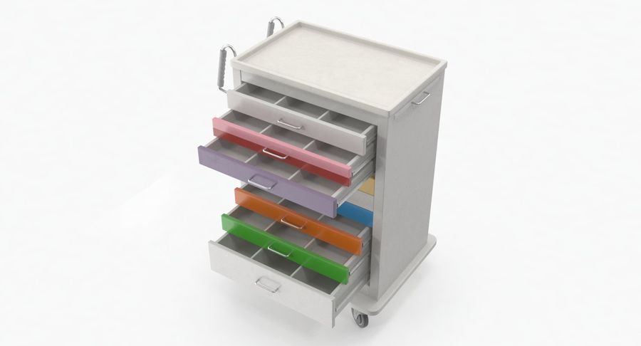 Pediatric Medical Cart royalty-free 3d model - Preview no. 17