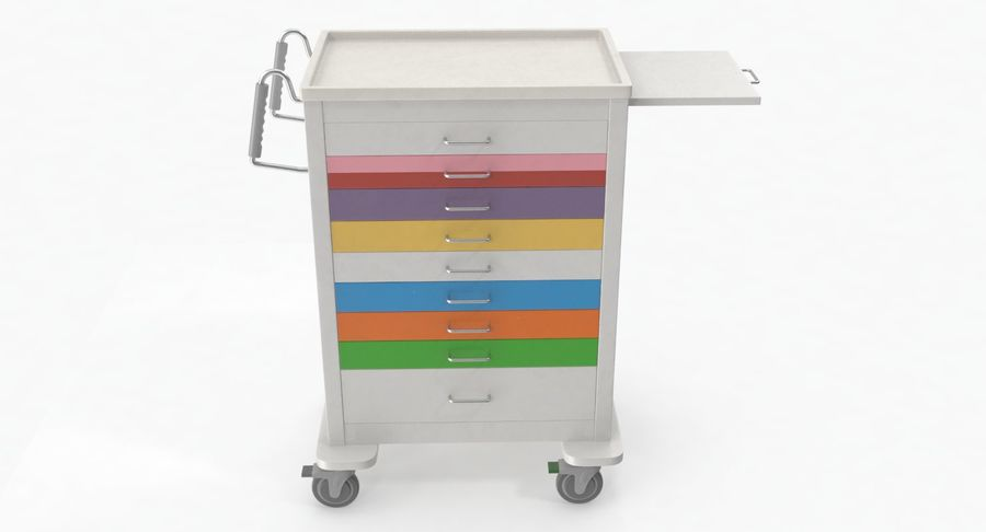 Pediatric Medical Cart royalty-free 3d model - Preview no. 8