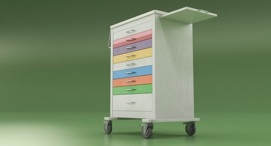 Pediatric Medical Cart royalty-free 3d model - Preview no. 5