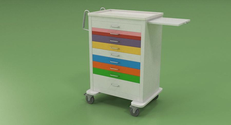 Pediatric Medical Cart royalty-free 3d model - Preview no. 3