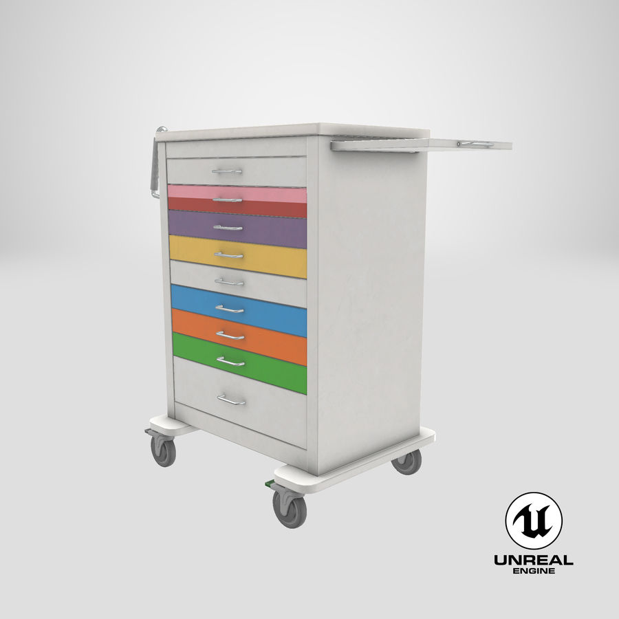 Pediatric Medical Cart royalty-free 3d model - Preview no. 52