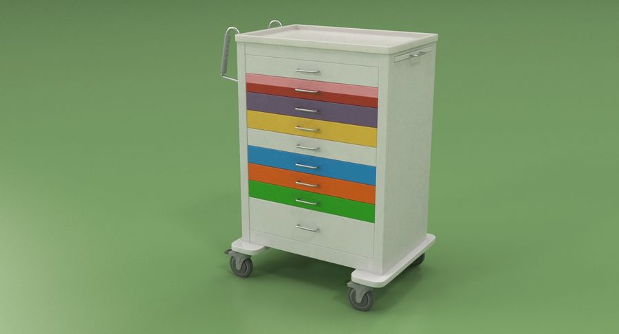 Pediatric Medical Cart royalty-free 3d model - Preview no. 4