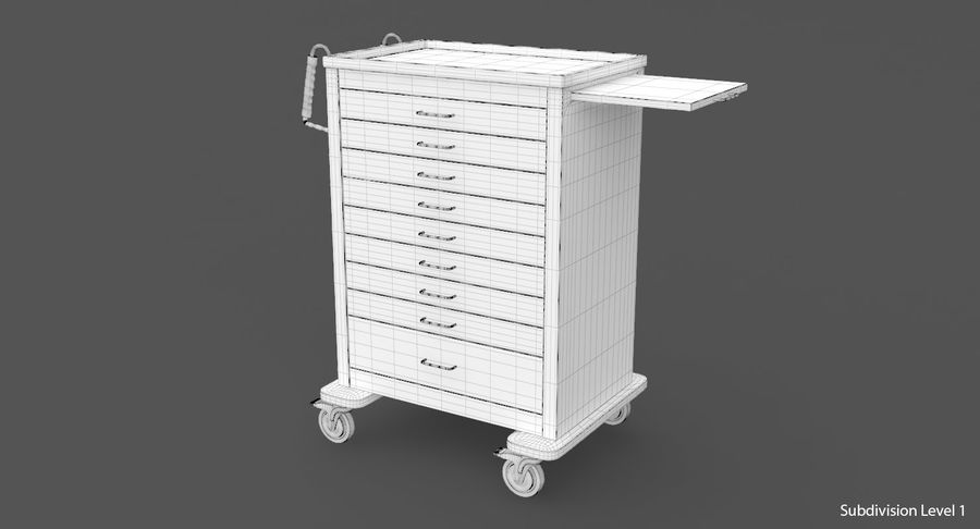 Pediatric Medical Cart royalty-free 3d model - Preview no. 26