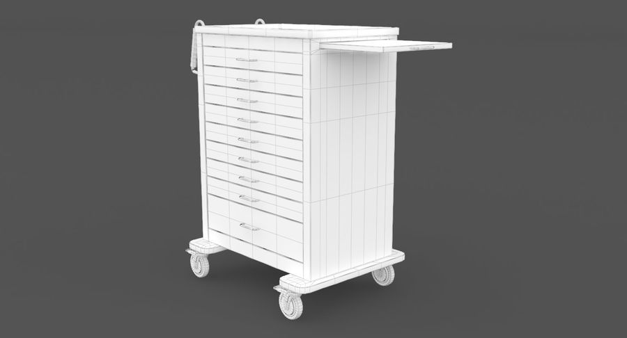 Pediatric Medical Cart royalty-free 3d model - Preview no. 27