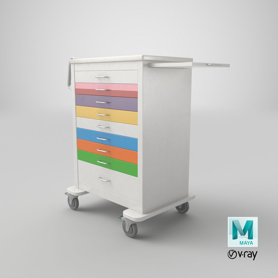Pediatric Medical Cart royalty-free 3d model - Preview no. 48