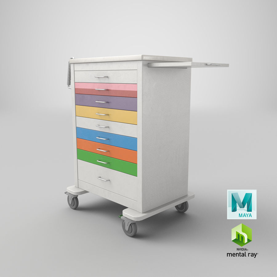 Pediatric Medical Cart royalty-free 3d model - Preview no. 49