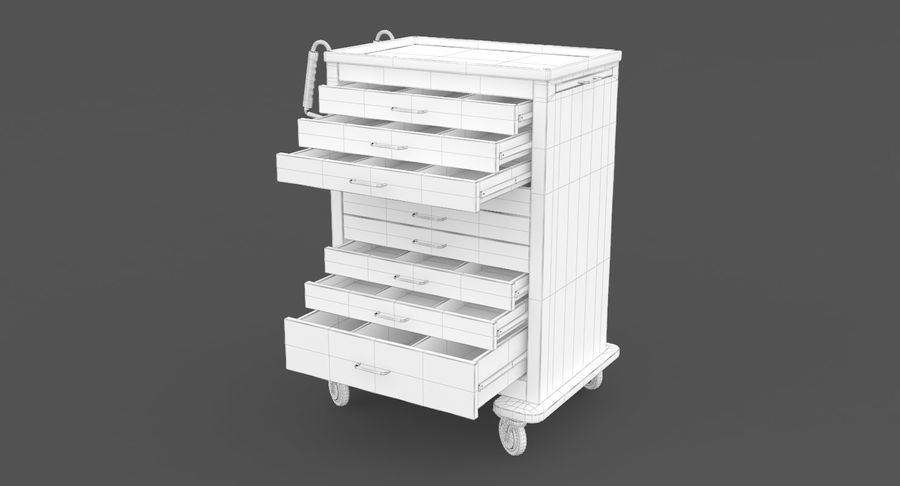 Pediatric Medical Cart royalty-free 3d model - Preview no. 36