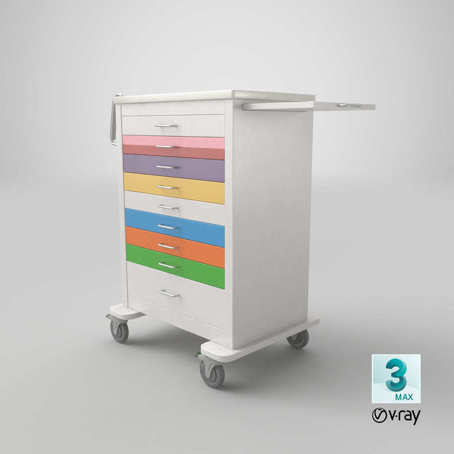 Pediatric Medical Cart royalty-free 3d model - Preview no. 50