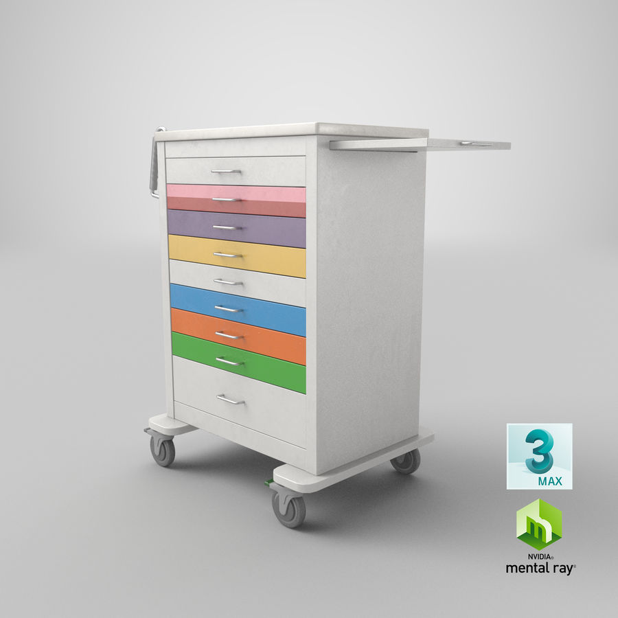 Pediatric Medical Cart royalty-free 3d model - Preview no. 51