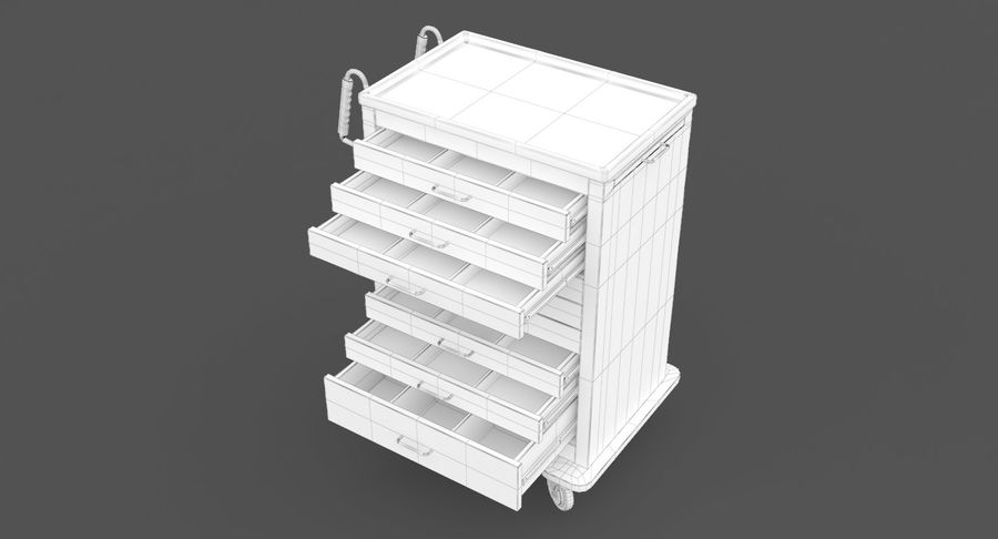 Pediatric Medical Cart royalty-free 3d model - Preview no. 37