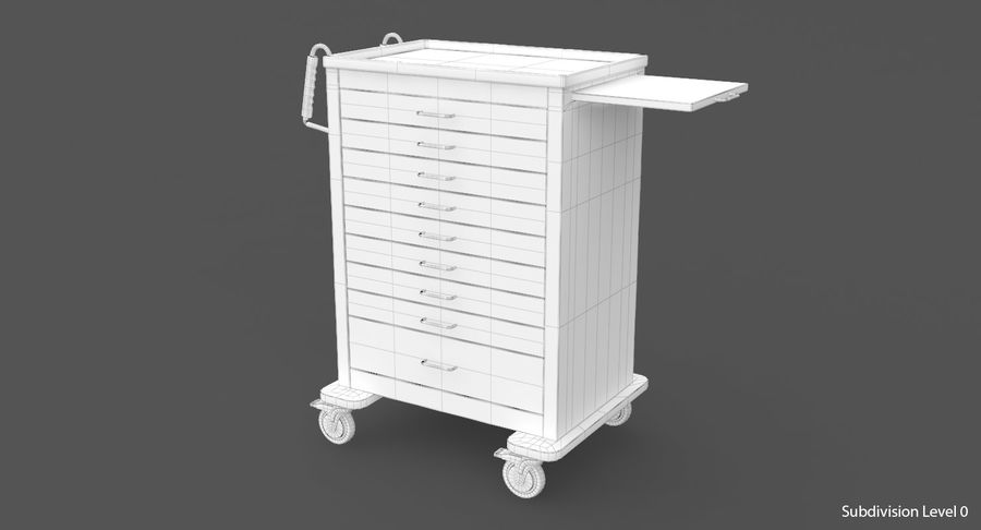 Pediatric Medical Cart royalty-free 3d model - Preview no. 25