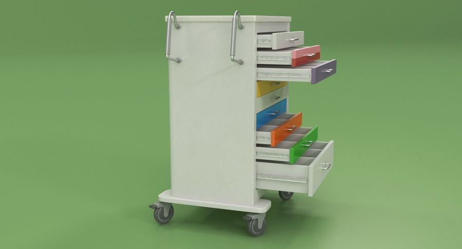 Pediatric Medical Cart royalty-free 3d model - Preview no. 6