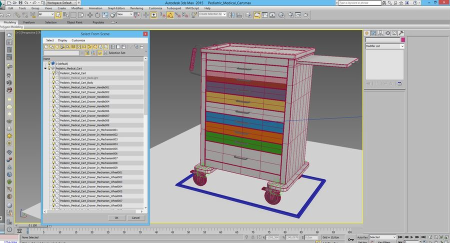 Pediatric Medical Cart royalty-free 3d model - Preview no. 24
