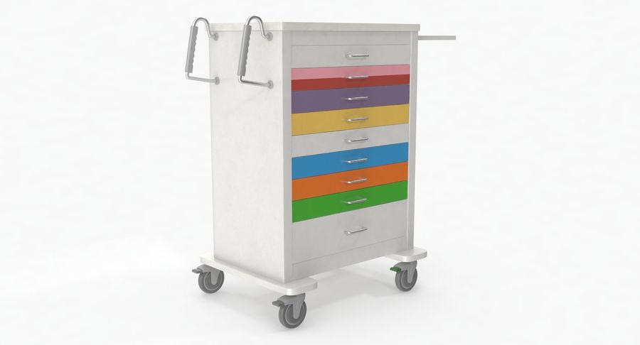 Pediatric Medical Cart royalty-free 3d model - Preview no. 9