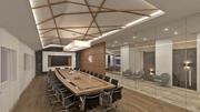 Interior de oficina con sala de conferencias modelo 3d