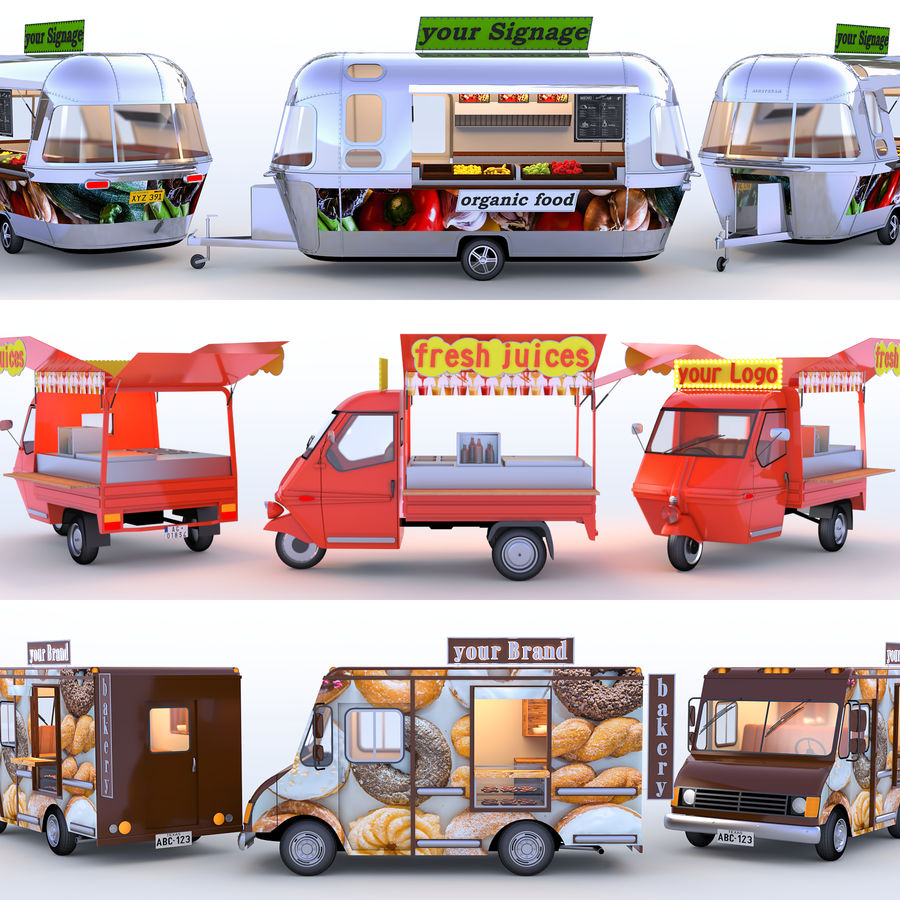 Коллекция Food Trucks royalty-free 3d model - Preview no. 1