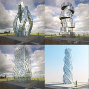 Gratte-ciel futuristes 3d model