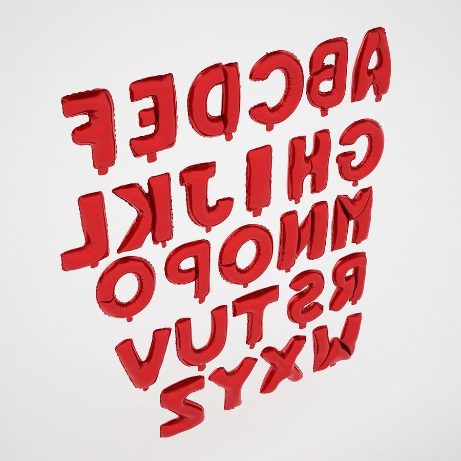 Folienballon Buchstaben rot royalty-free 3d model - Preview no. 11