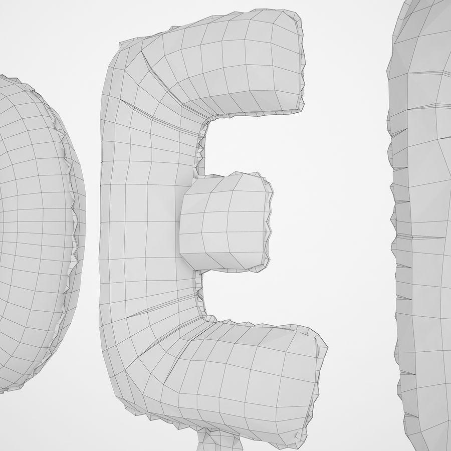 Folienballon Buchstaben rot royalty-free 3d model - Preview no. 22
